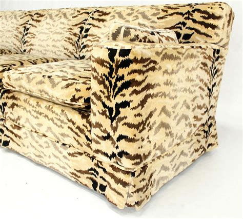 sofa with pattern fabric tiger pattern fabric mid century modern sofa at 1stdibs