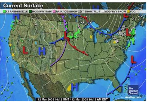weather map of us with fronts weather front map my