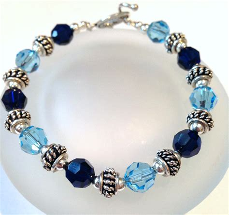 blue beaded bracelet blue swarovski bracelet beaded by sparkleandsplendor