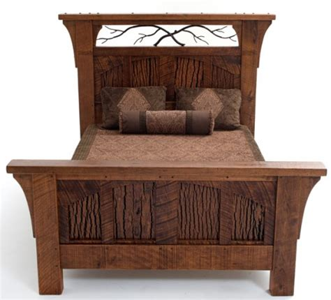 barnwood bed rustic lodge bed carved pine tree motif barn wood furniture