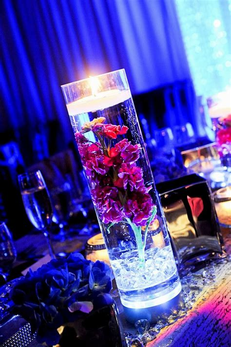lighted centerpieces for wedding reception purple silver and white wedding decorations archives