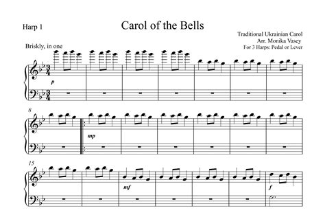 the bells carol of the bells harp column music