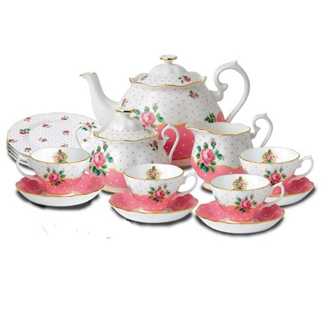 Pink Set royal albert cheeky pink bone china tea set