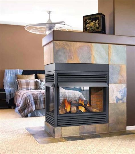 three sided fireplace ideas living room dining room