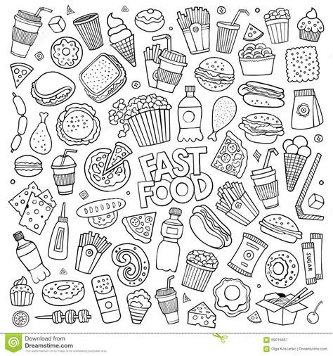 doodle draw theme fast food doodles vector symbols stock vector