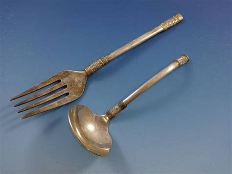 Set Gold 67 aegean weave gold by wallace sterling silver flatware set