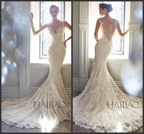 lace sheer wedding gowns best selling 2015 vintage wedding dresses v neck sheer