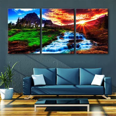 home decor free shipping free shipping e home oil painting sunset falls decoration