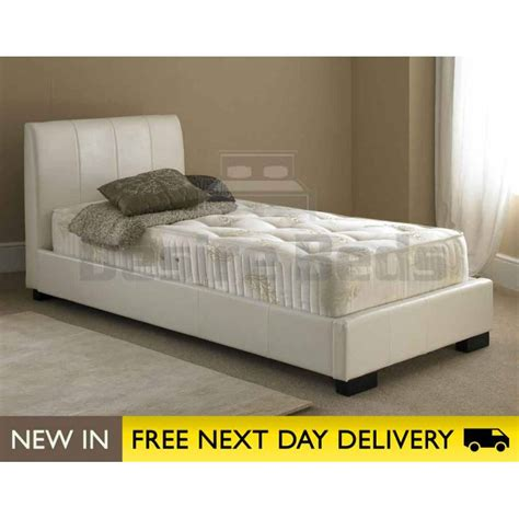 titan 3ft single white faux leather bed cheap titan