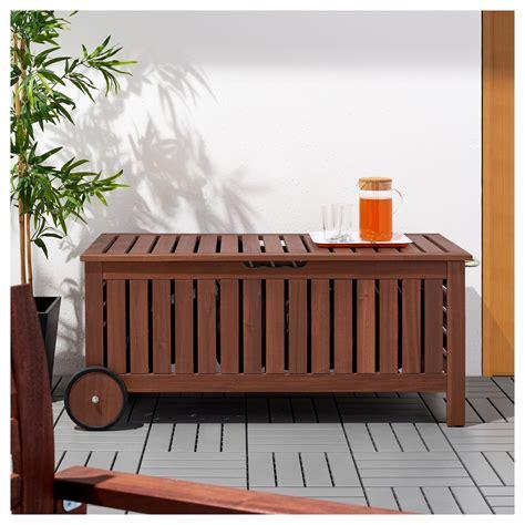 brown garden storage bench 196 pplar 214 storage bench outdoor brown stained 128x57 cm ikea