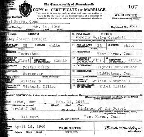 Marriage Records Ma The Marriage Of Stanley Joseph Izbicki And Dorothy Roslyn Crandall Steve S Genealogy