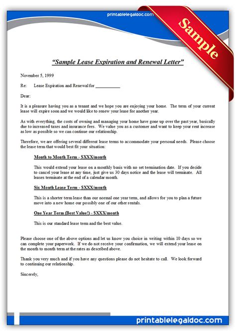 Letter To Renew Lease Agreement Free Printable Sle Lease Expiration And Renewal Letter Form Generic