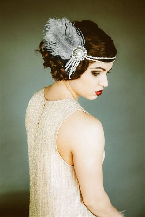 unique roaring 20s head pc flapper headpiece vintage inspired bridal headband the