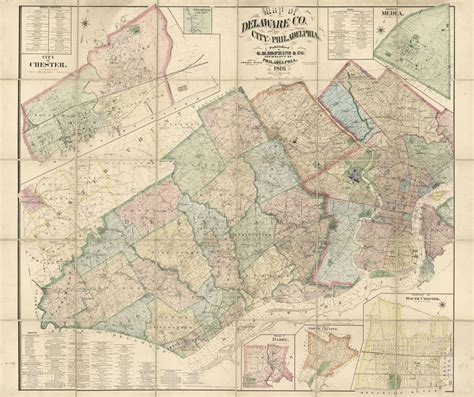 Delaware County Pa Property Tax Records 1876 Farm Line Map Of Delaware County Pa And The City Of Philadelphia Ebay