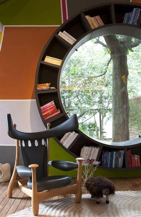 a fresh indoor design idea round window bookcase