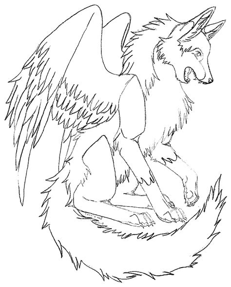 winged wolf coloring page dragon winged wolf coloring pages