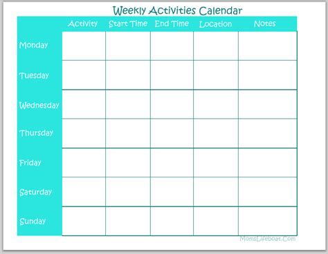 printable children s weekly calendar weekly activities calendar free printable