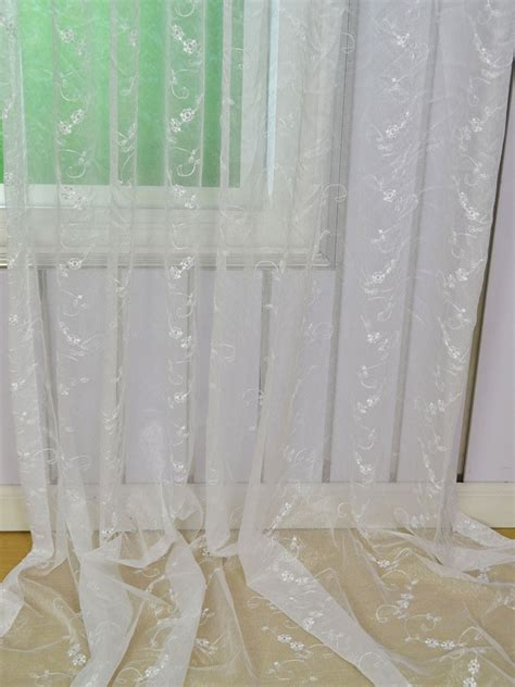 Tab Curtains Pattern Elbert Vine Floral Pattern Embroidered Back Tab White Sheer Curtain Panel Cheerycurtains