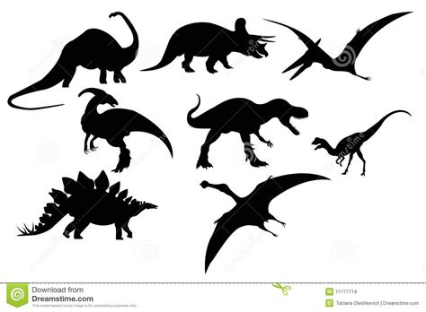 silhouette of dinosaur set stock images image 11777114