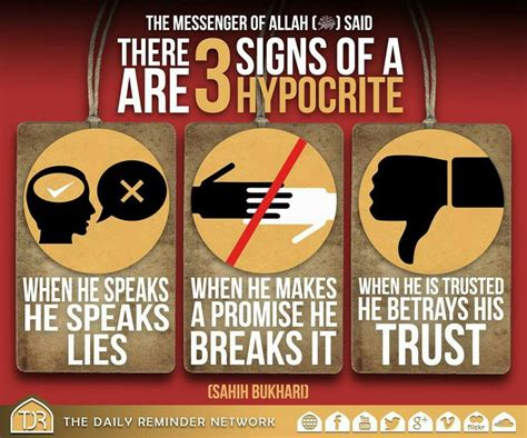 Wooden Poster Islamic Quote 3 Signs Of A Hypocrite Islamic Stuff More Islam Islamic And Daily Reminder Ideas
