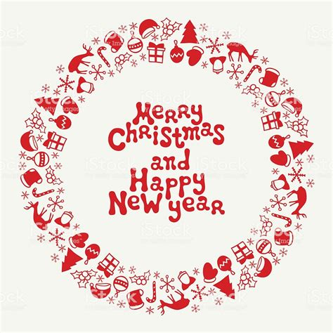 merry christmas  happy  year lettering greeting card  stock vector art  images