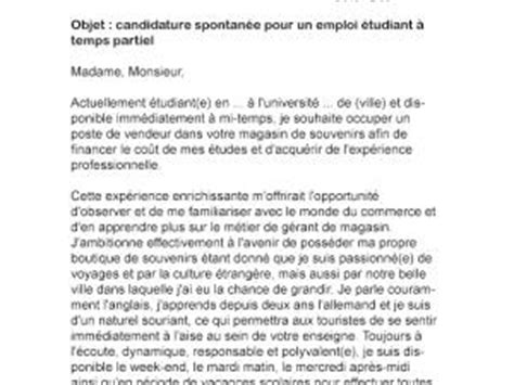 Lettre De Motivation Vendeuse A Mi Temps Lettre De Motivation 233 Tudiant Temps Partiel Par Lettreutile