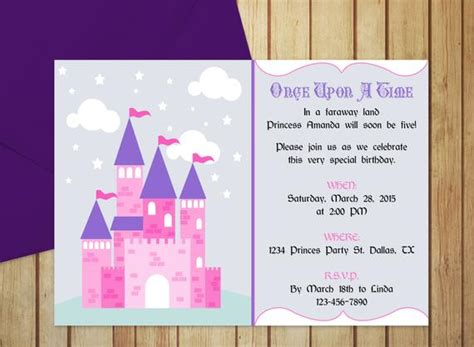 Pretty Princess Castle Invitation Editable Template Pretty Invitation Templates