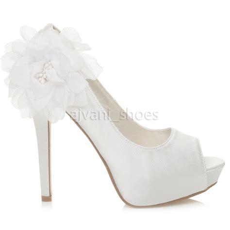 womens high heel platform peeptoe flower wedding