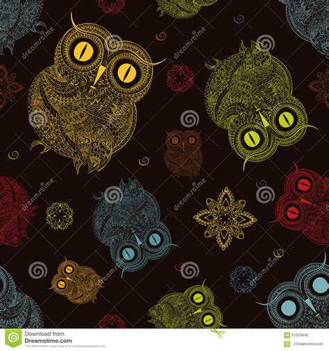 tribal pattern owl background vector illustration of owl bird illustrated in tribal
