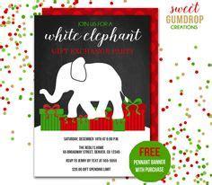 Free Printable Holiday White Elephant Invitation Templates White Elephant Christmas Free White Elephant Invitation Template