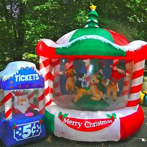 12ft lit rotating animated christmas carousel airblown