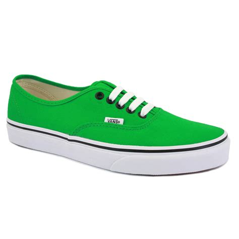 vans authentic womens canvas laced trainers green black