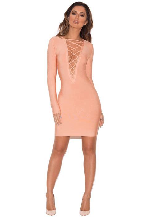 clothing bandage dresses reyna lace up bandage