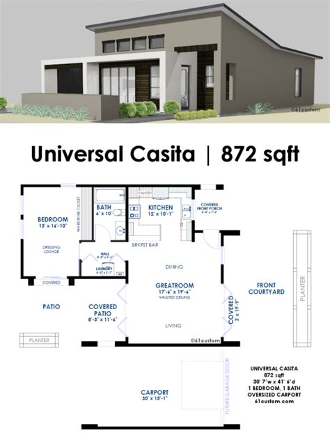 contemporary floor plans homes universal casita house plan 61custom contemporary