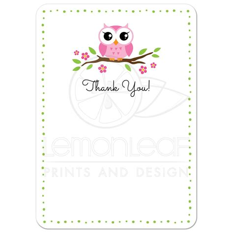 Smiley Card Note Template by Pink Owl On Flowering Branch Flat Thank You Note Card