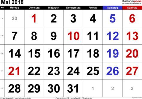 Kalender 2018 April Mai Kalender Mai 2018 Als Excel Vorlagen
