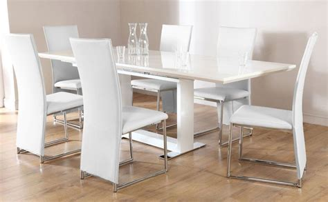 White Gloss Dining Room Furniture Tokyo Athens Extending White High Gloss Dining Table 4 6 8 Chairs Set White Athens
