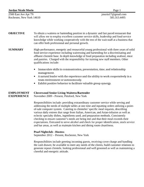 Bartending Resume Template by Basic Bartender Resume Template