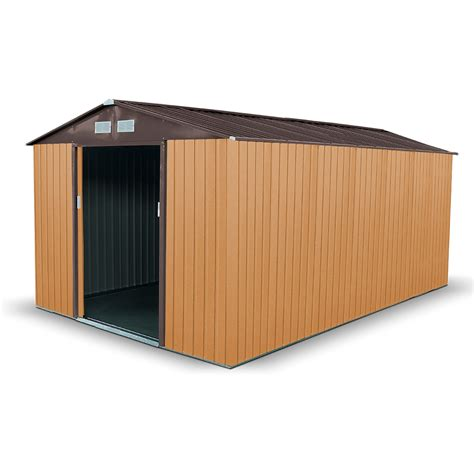 Billyoh Metal Shed billyoh boxer 12 x 11 light brown apex metal shed 163 359 00 bargain shed store