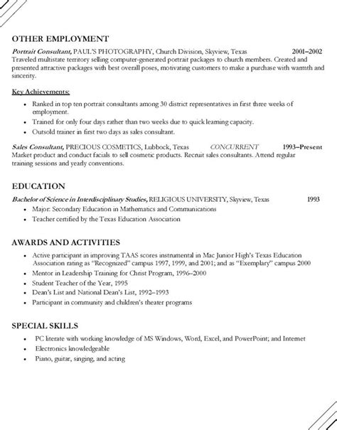 Secondary Resume by Secondary Mathematics Resume Persepolisthesis