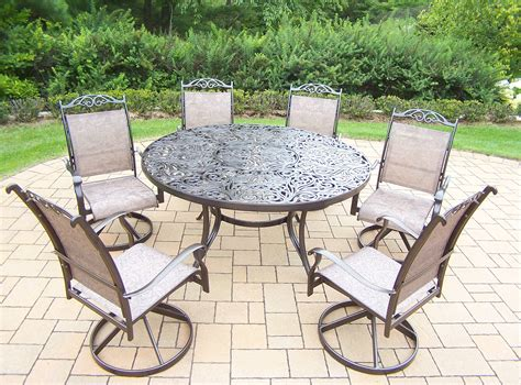 oakland living aluminum 7 pc patio dining set w 60