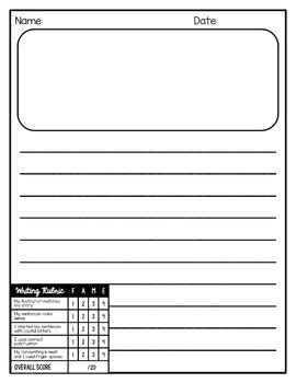 writing paper with illustration box writing paper with rubric and picture box editable by