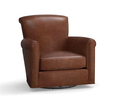 leather swivel rocker chair irving leather swivel rocker pottery barn