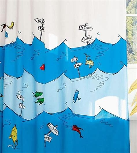 Kid Shower Curtains One Fish Two Fish Fish Blue Fish Dr Seuss Shower Curtain From Pottery Barn Design