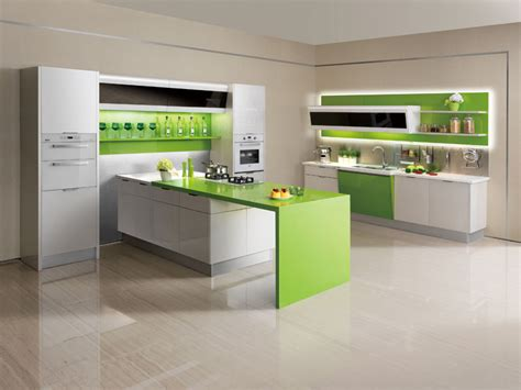 Kitchen Cabinet Surfaces by Oppein Kitchen Cabinets Acrylic Series Green And White