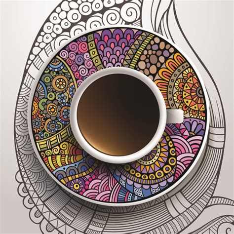 ethnic ornaments ethnic pattern ornaments and coffee cups vector 02 free