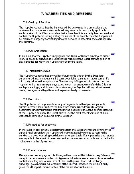 service level agreements templates service level agreement templates