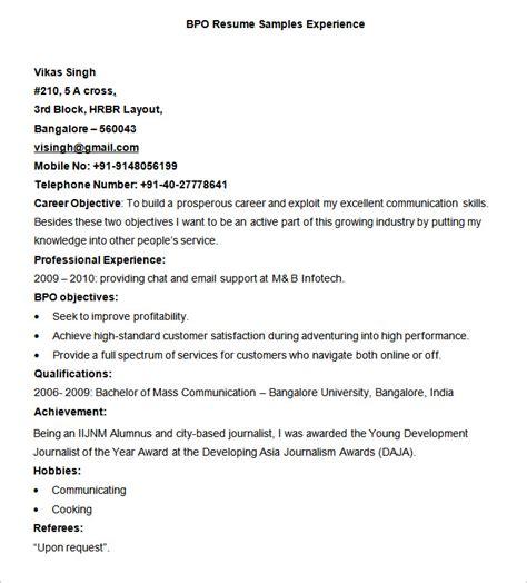 BPO Resume Templates ? 35  Free Samples, Examples, Format