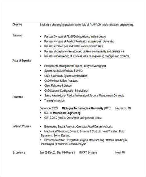 entry level mechanical engineering resume sle 28 images