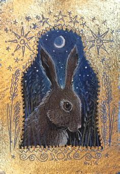 Liquid Moon Rabbit Gold Bacth haines the magic hare and pencil on panel